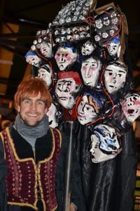 """Artist Jacob """"Reptile"""" Martin with his judges parade puppet"""