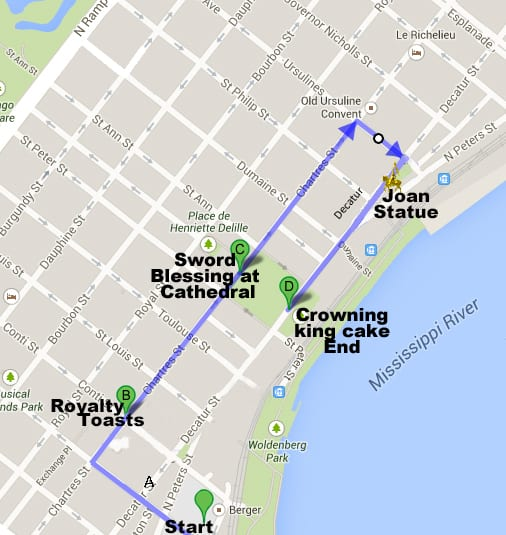 Parade start at the corner of Bienville and Front, north up Bienville, right to go east on Chartres, pause at the corner of Conti and Chartres for royalty toasts from the Historic New Orleans Collection Williams Foundation balcony, continue on Chartres, pause at St. Louis Cathedral for the blessing of the sword, continue on Chartres, right onto Ursuline, right to go west on Decatur, passing the Joan of Arc statue, end at Washington Artillery Park (sidewalk amphitheater across from Jackson Square) with the crowning and king cake ceremony.