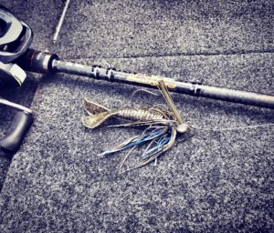 Big Fish Setup, 1/2oz Okee Craw BassTEK Jig, 20lb Fluoro, Dobyns DX705C