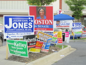 Early voting signs at Randallstown Community Center