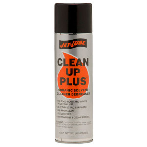 Environmentally safe, organic, cleaner and degrease Jet-Lube Clean Up Plus.