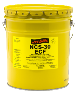 Environmentally safe, non-metallic, biodegradable thread compound Jet-Lube NCS-30 ECF.