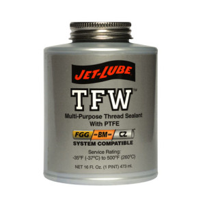 Sealant for water and gas, Jet-Lube TFW Thread Sealant.