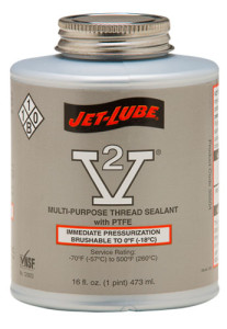 Soft set, environmentally safe Jet-Lube V-2 Thread Sealant.