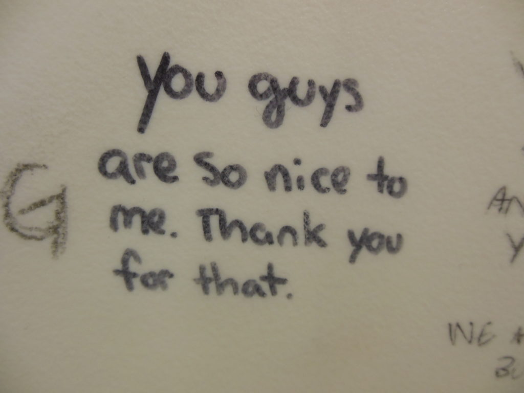 A rape victim's response to her supporters on the bathroom stall door