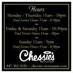 Chessies Restaurant Hours