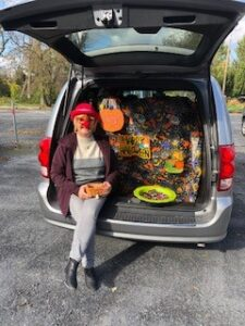 Woman dressed up at Trunk or Treat
