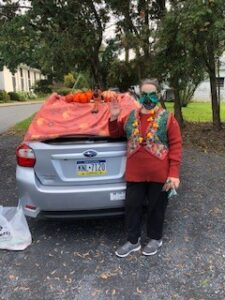 Woman dressed up for Halloween at Trunk or Treat