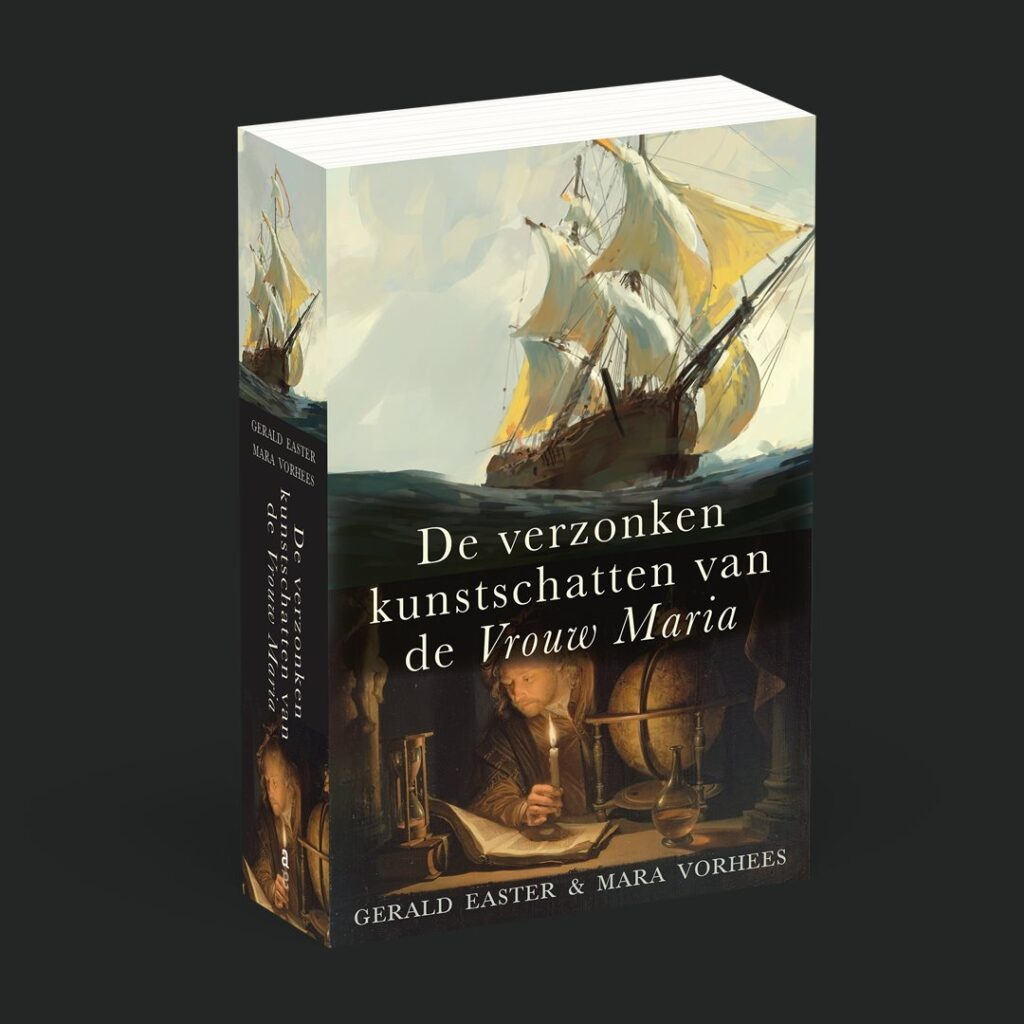 Three-dimensional image of the book, The Sunken Treasures of the Vrouw Maria