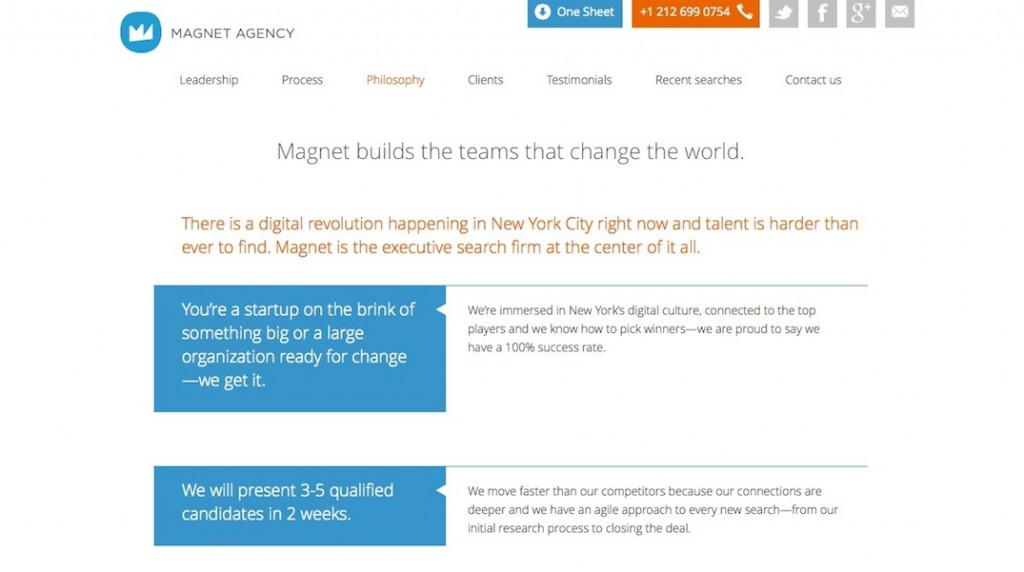 Magnet Agency Website - Philosophy Page
