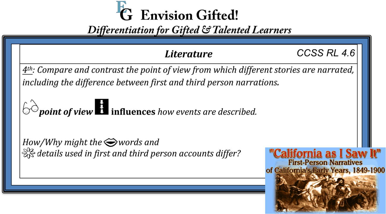 Envision Gifted. CCSS RL4.6. Depth and Complexity, Content Imperatives