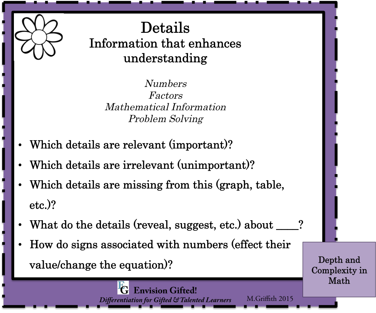 Envision Gifted. Depth and Complexity Details in Math