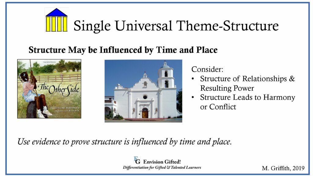 Envision Gifted Universal Theme Structure Influenced by Time and Place