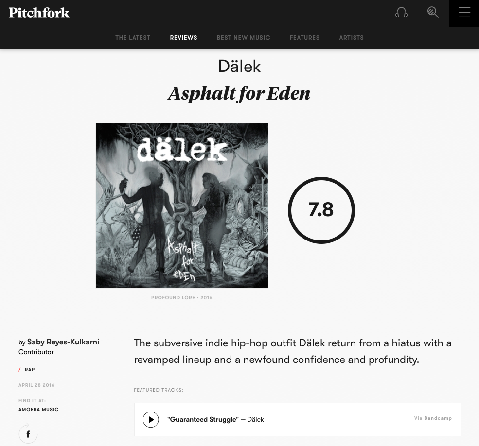 dälek Asphalt For Eden Pitchfork Review