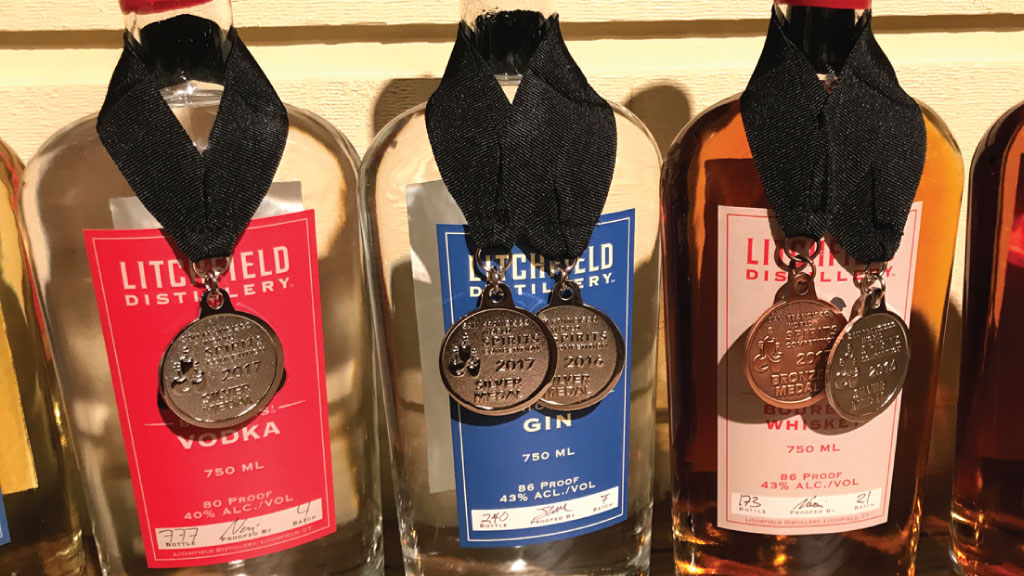 Litchfield Distillery earns three medals at San Francisco World Spirits Competition.