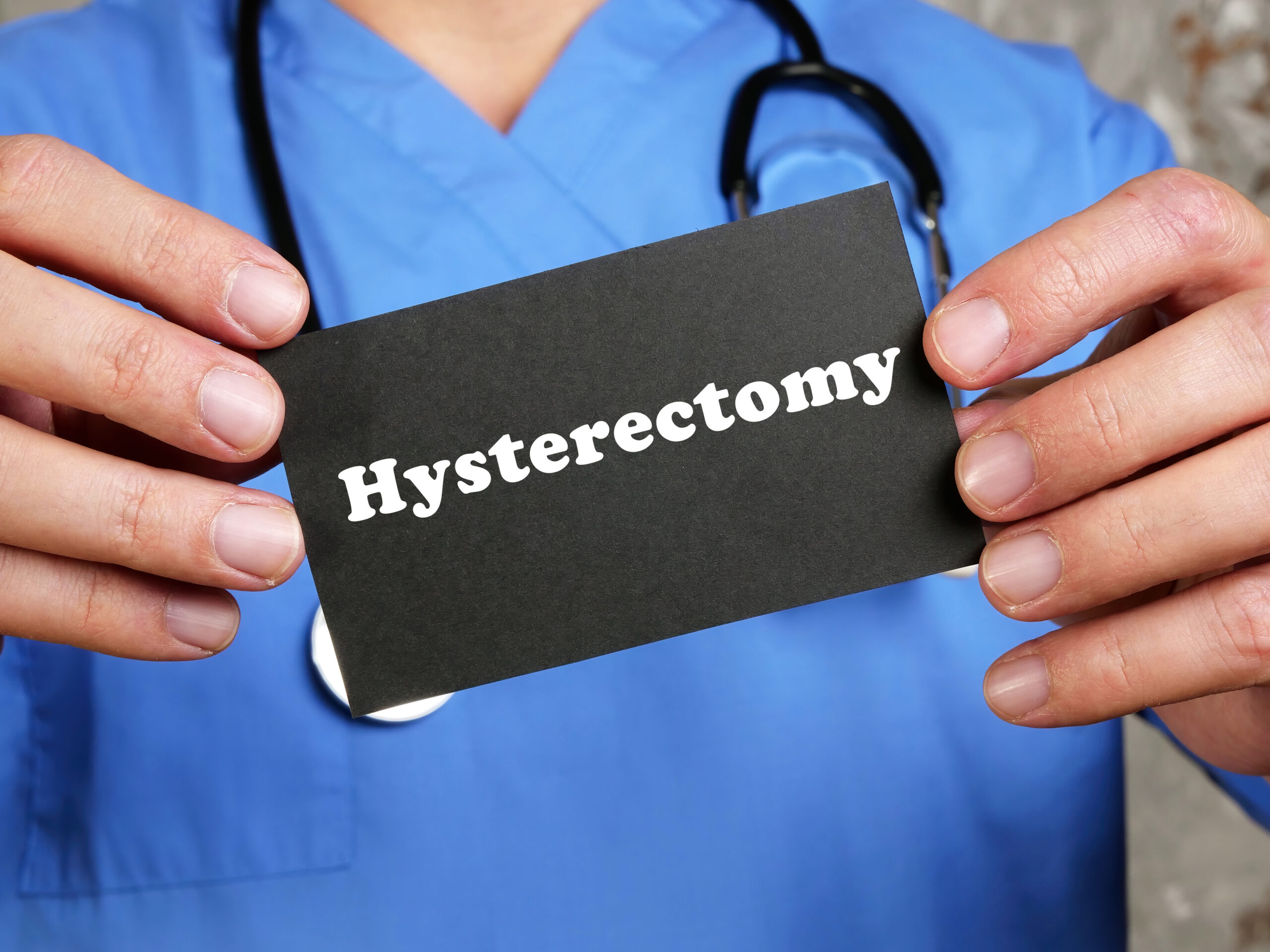 Health care concept about Hysterectomy with inscription on the p