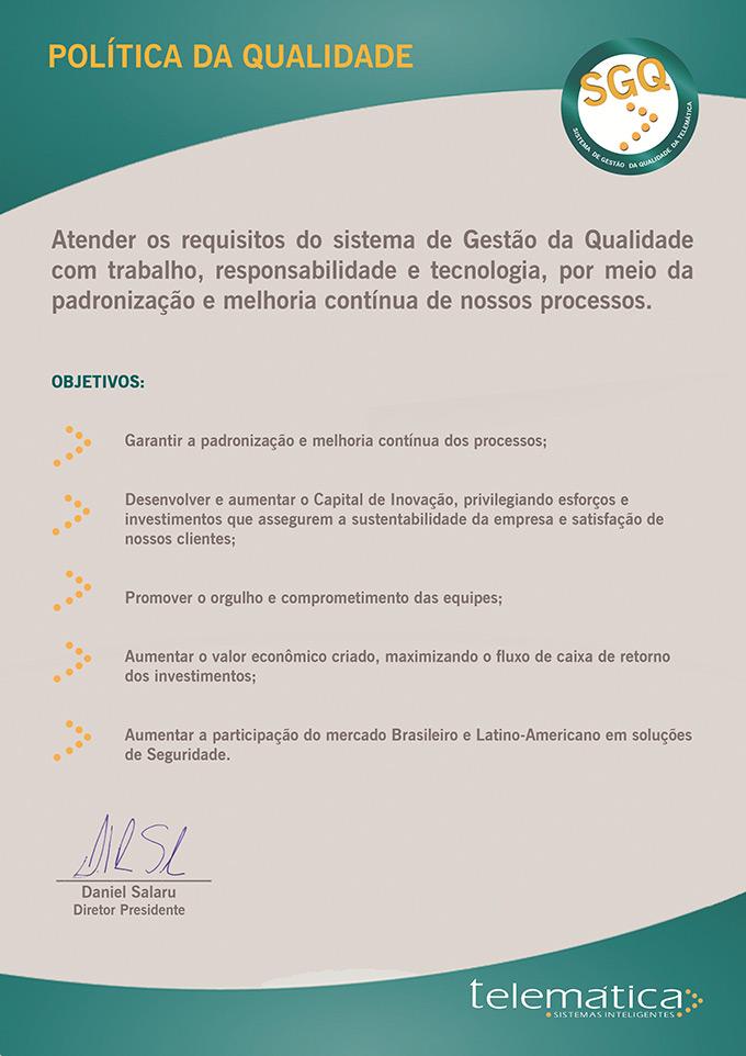 Carta Presidente Politica de Qualidade Telemática