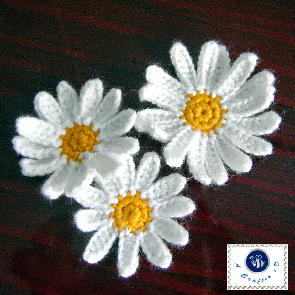 crochet daisy applique pattern