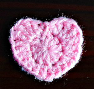 crochet heart applique