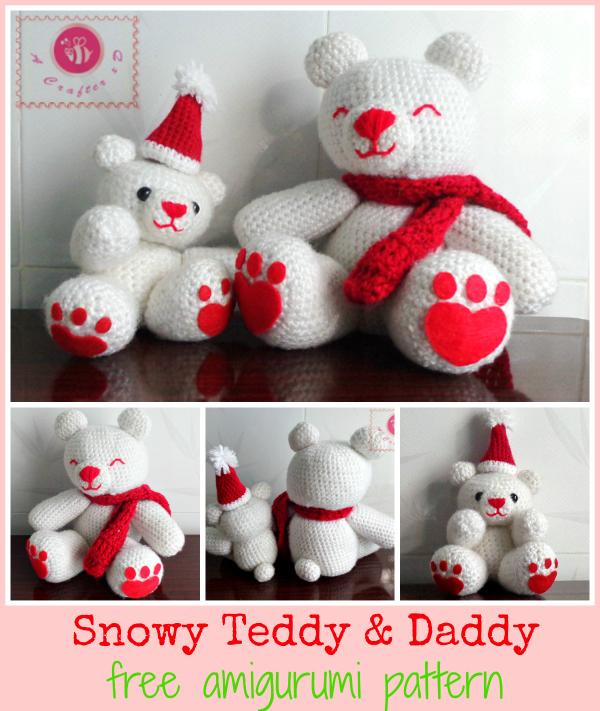 snowy teddy daddy amigurumi