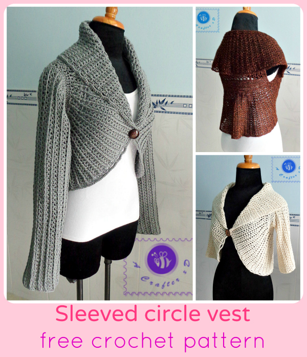 crochet circle vest with sleeves