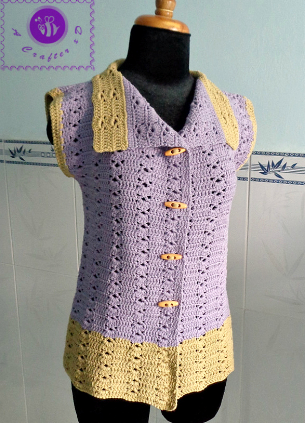 crochet sleeveless vest free pattern