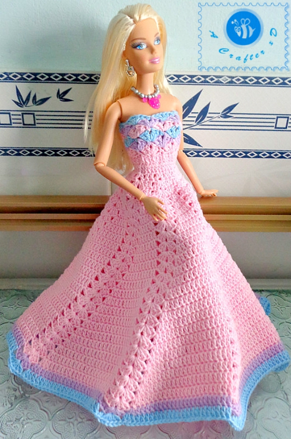 crochet fashion doll dress free pattern