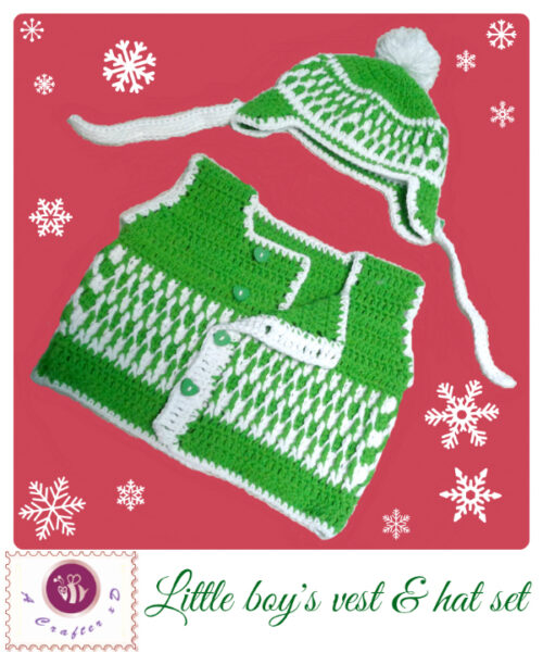 crochet baby boy's vest and hat
