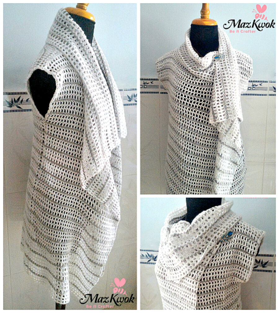 crochet layered lapel vest