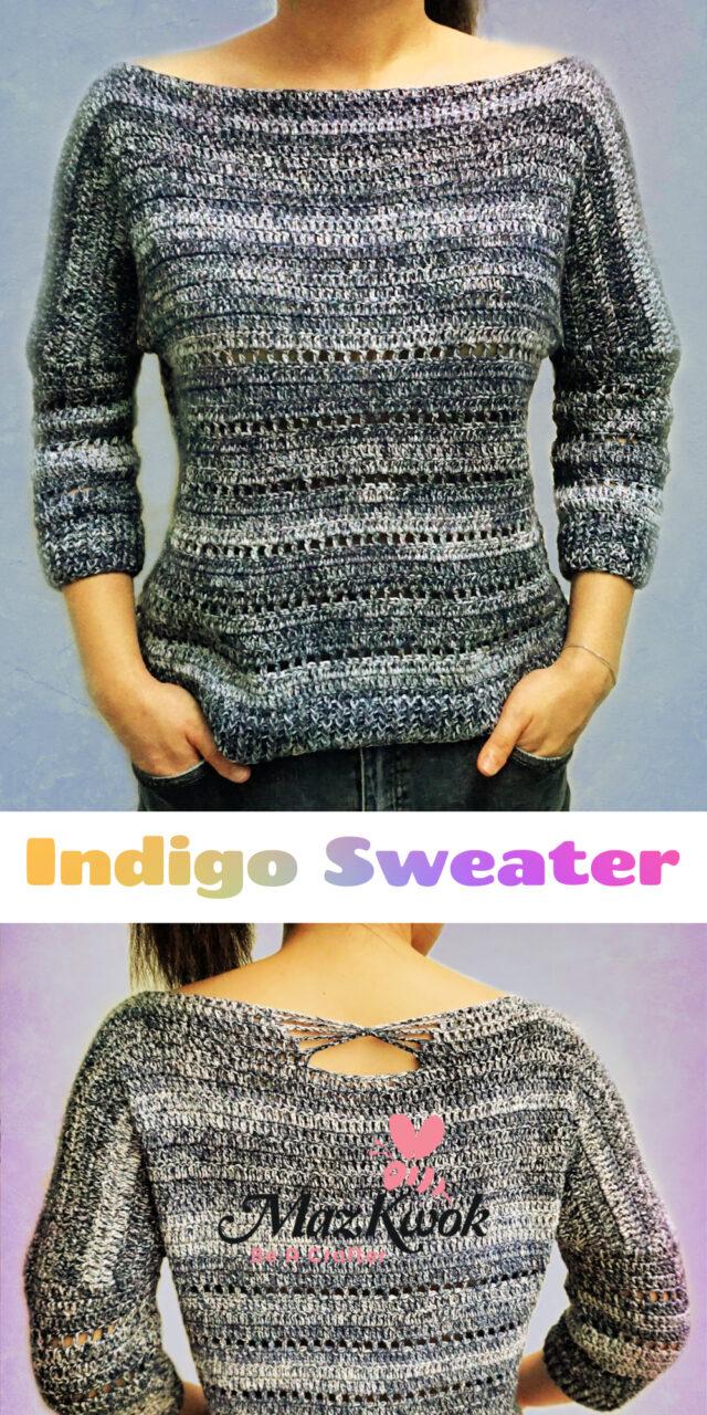 crochet indigo sweater