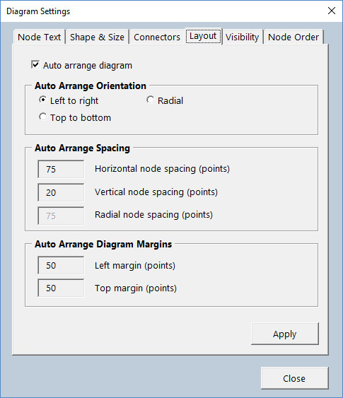 Diagram Master - Layout Settings