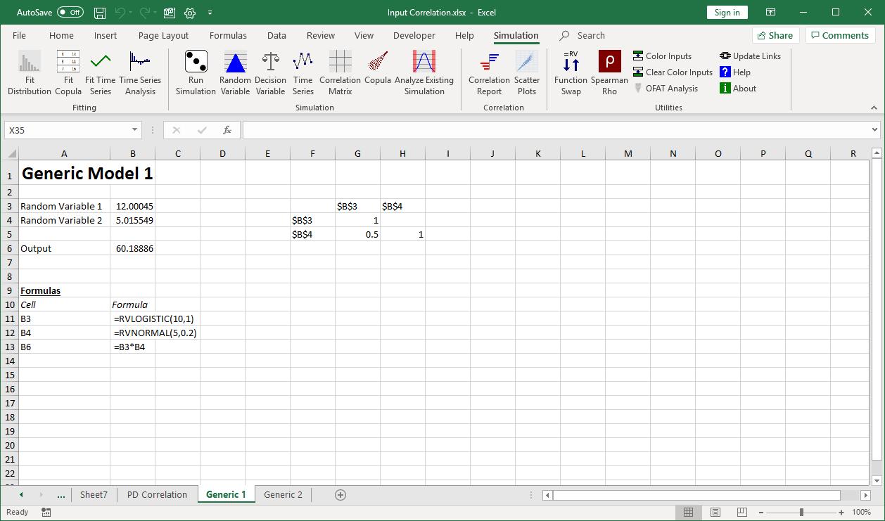 Generic input variable correlation model 1