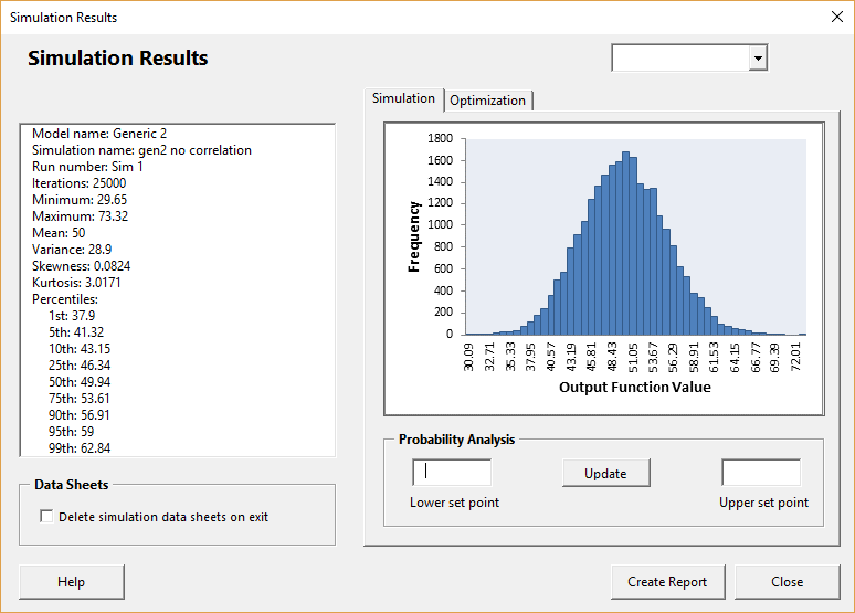 Generic 2 results without correlation