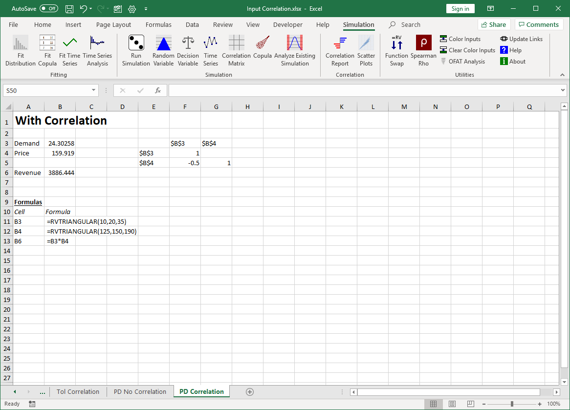 Revenue model with input variable correlation