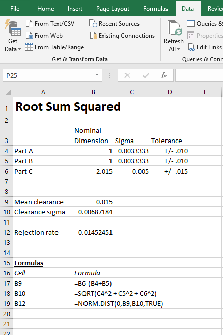 RSS tolerance analysis - rejection rate spreadsheet