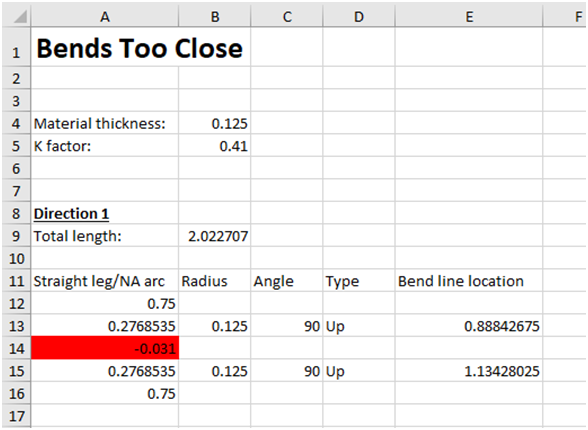 Report showing bends that are too close together