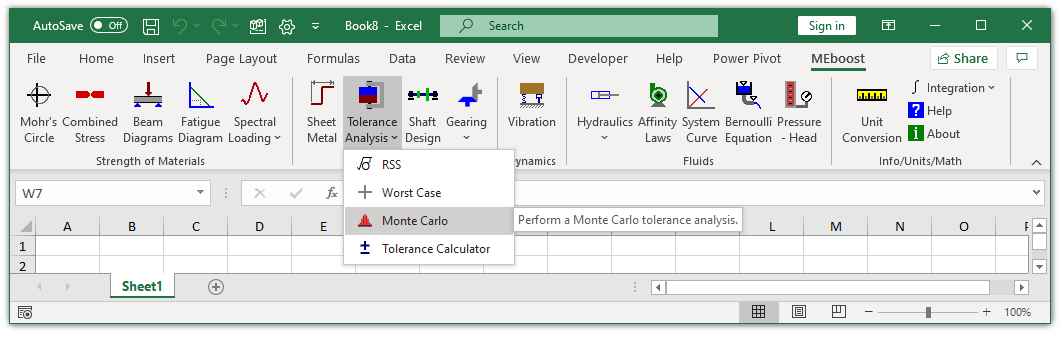 MEboost Excel ribbon with Monte Carlo button highlighted