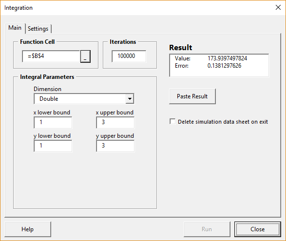 Integration form with results