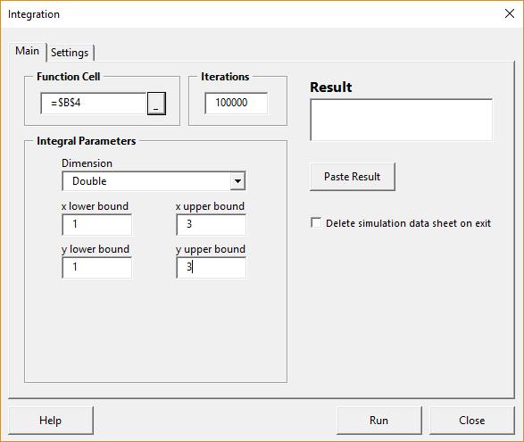 Integration form - main tab