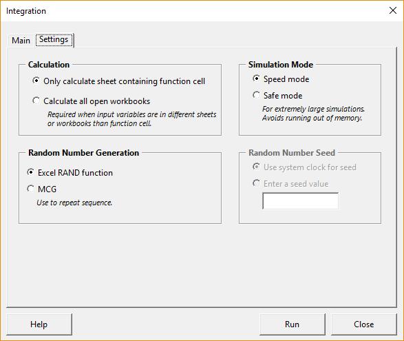 Integration form - settings tab