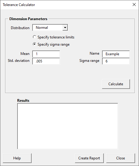 Tolerance calculator before calculation