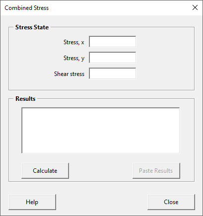 Blank combined stress form
