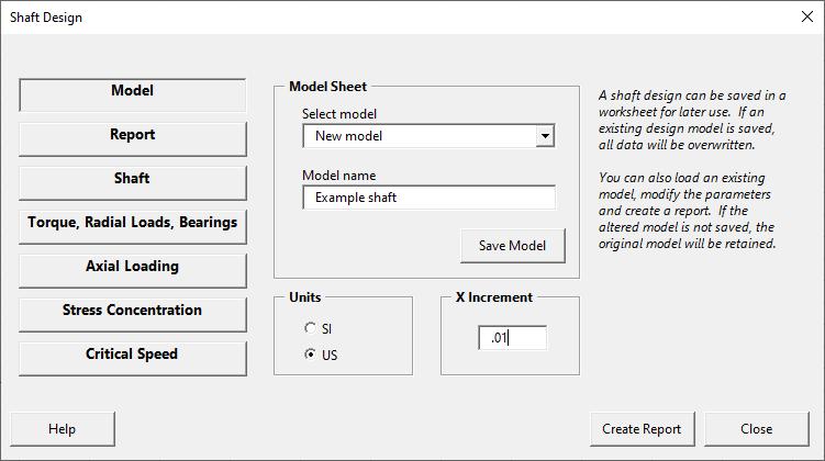Shaft design form - model page