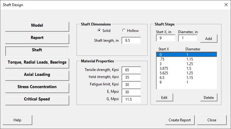 Shaft design form - shaft page