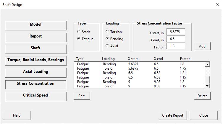 Shaft design form - stress concentration page