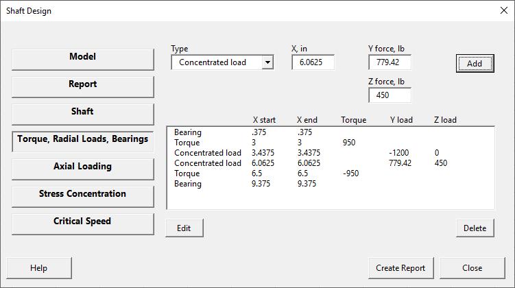Shaft design form - torques, radial loads, bearings