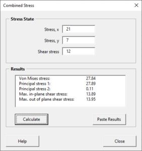 Combined stress calculator