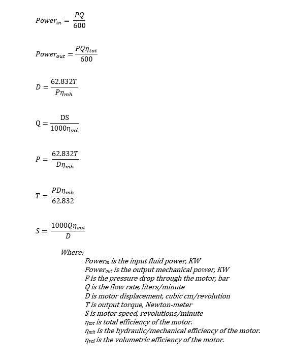 Hydraulic motor equations - SI units