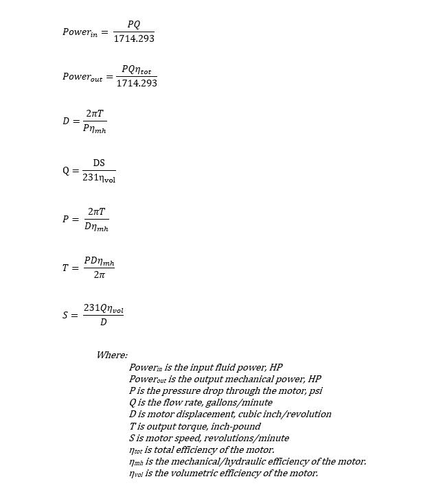 Hydraulic motor equations - US units
