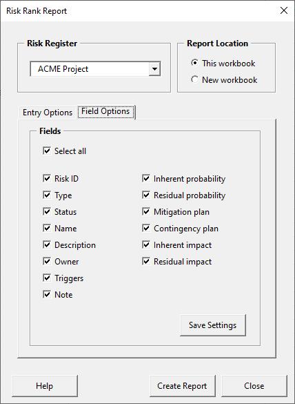 Risk rank report field options
